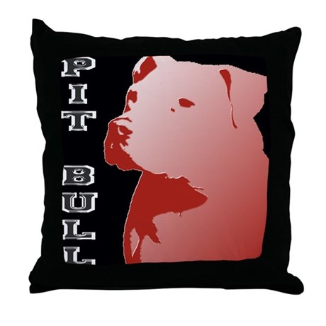 Pit Bull Throw Pillow by doggonewild