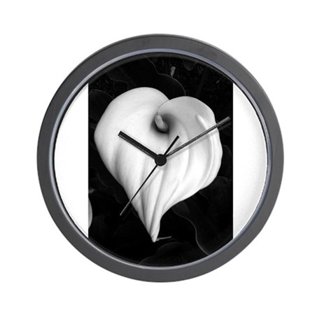 Black and White Calla Lily Wall Clock by csturman10