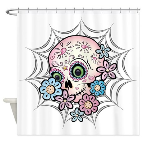Sweet Sugar Skull Shower Curtain by bonesofsociety