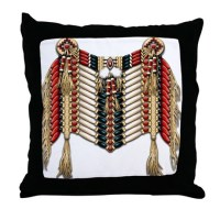 Native American Breastplate 10 Throw Pillow by naumaddicarts