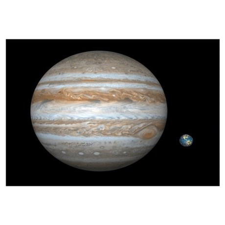 Jupiter And Earth Compared Artwork Poster