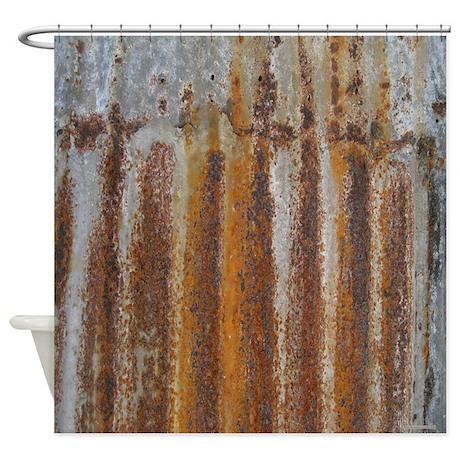 Rusty Tin Shower Curtain by rebeccakorpita