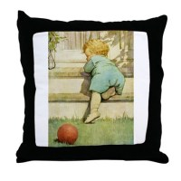 Toddler With A Ball Throw Pillow by fairy_tales