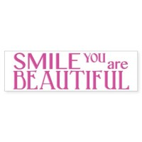 Smile you are Beautiful, Fuchsia Sticker (Bumper) by ...