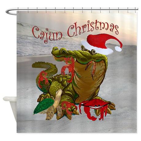 Cajun Christmas Shower Curtain by bythebeach