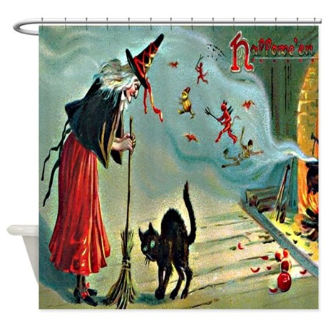 Vintage Halloween Witch Black Cat Shower Curtain By