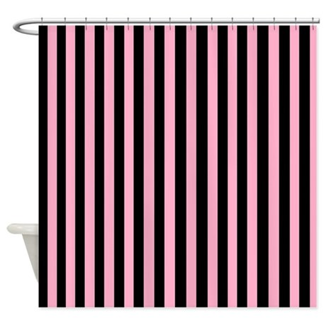 Pink black and white stripes shower curtain by beachbumming