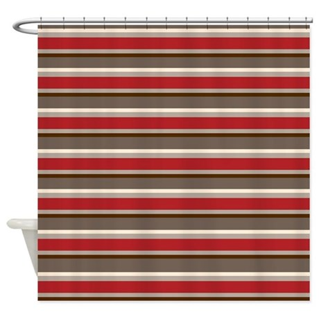 Red Gray Brown Horizontal Stripes Shower Curtain by