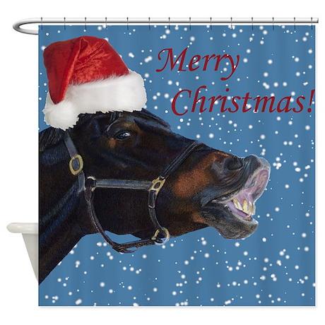 Fun Christmas Horse Shower Curtain By Pattyspetart