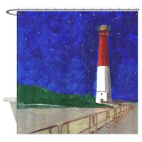 Old Barney Lighthouse Shower Curtain by figstreetstudio