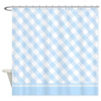Light blue diamond gingham shower curtain by InspirationzStore
