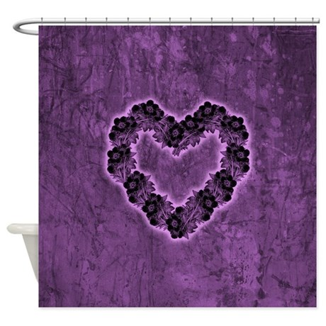 Gothic Purple Flower Heart Shower Curtain By Unfortunateoccasions