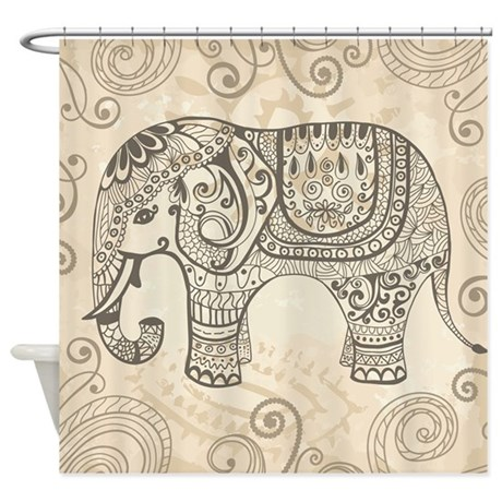 Vintage Elephant Shower Curtain by BestShowerCurtains