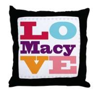 I Love Macy Throw Pillow by UniqueGirlsNames49