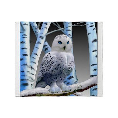 BLUEEYED SNOW OWL Throw Blanket by holbrookart