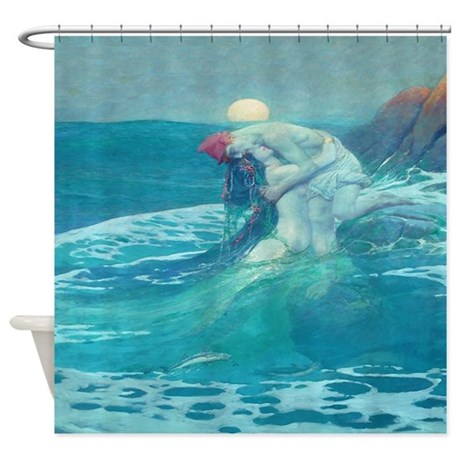 kitchen cafe curtains under the cabinet tv for vintage mermaid and mortal shower curtain by rebeccakorpita