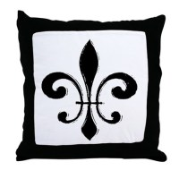 Fleur De Lis Throw Pillow by figstreetstudio