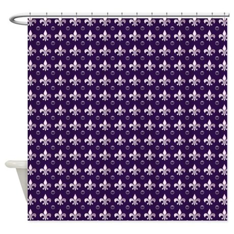 Deep Purple Fleur De Lis Shower Curtain by cheriverymery