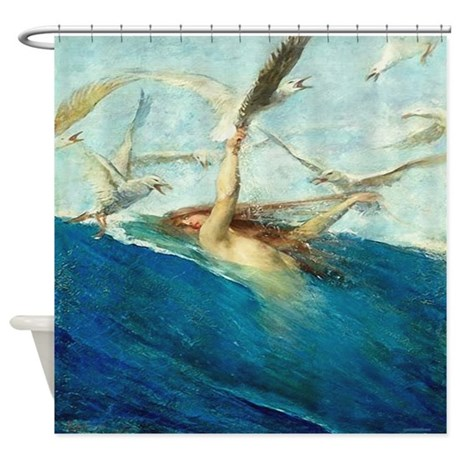 Vintage Mermaid Seagulls Shower Curtain by rebeccakorpita