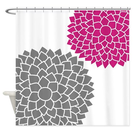 Zen Flowers Gray Pink Shower Curtain By MarshEnterprises