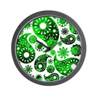 Green Swirl Paisley. Wall Clock by Metarla3