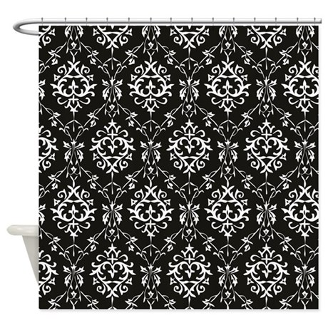 Black & Cream Damask Shower Curtain By DPeaGreenDesigns
