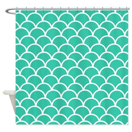 Gt blue bathroom d 233 cor gt turquoise fishscale pattern shower curtain
