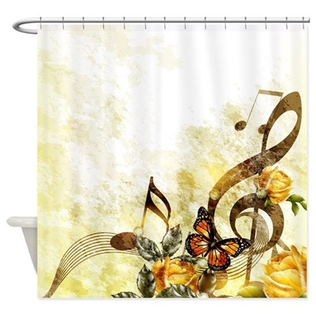 Butterfly Music Notes Shower Curtain By ShowerCurtainShop