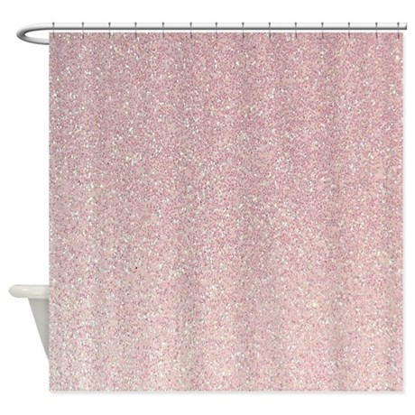 light pink faux glitter texture shower curtain by