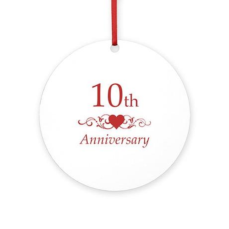 10th Wedding Anniversary Ornament Round by pixelstreetann