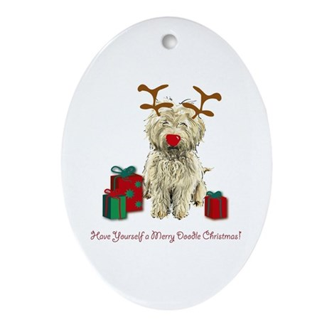 Merry Doodle Christmas Oval Ornament By Serendipity1