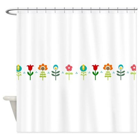 Retro folk floral line shower curtain by inspirationzstore