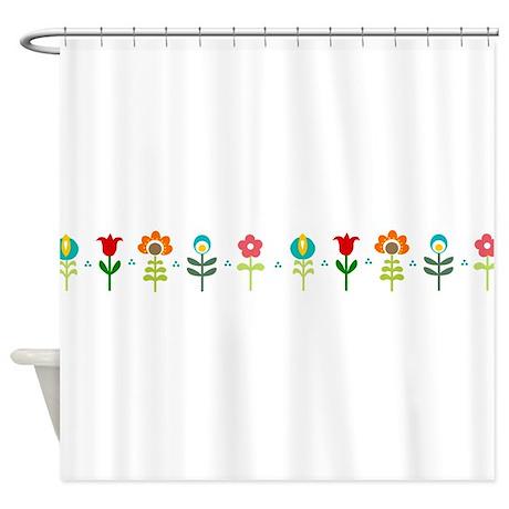 Retro Floral Shower Curtain