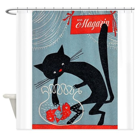 vintage posters for kitchen kmart chairs cat, fish bowl, poster shower curtain by vintagevivian