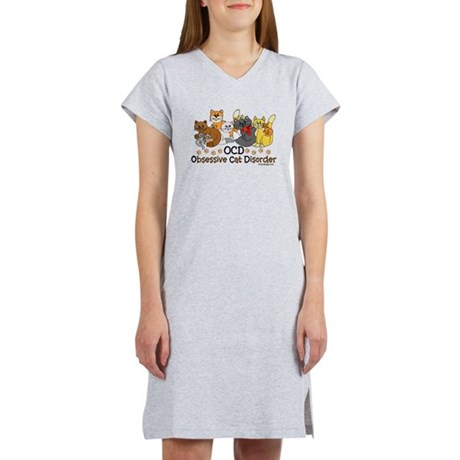 OCD Obsessive Cat Disorder Women's Nightshirt. . 10 colorful cats in different colors. Funny cat spoof / parody to obsessive compulsive disorder. For cat lovers and even hoarders. Do they call you the crazy cat lady?