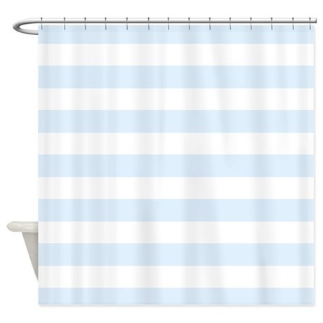 Light Blue and white stripe Shower Curtain by