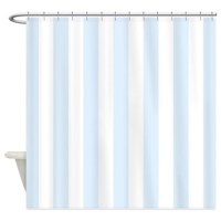 Light blue and white stripes Shower Curtain by ...