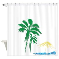 Tropical Shower Curtain by silverwolfwoods