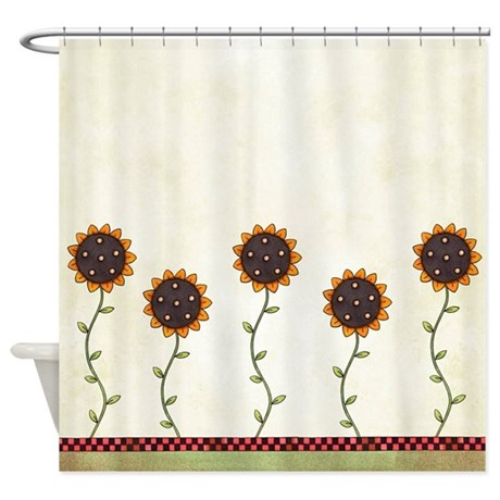 Primitive Sunflowers Shower Curtain Shower Curtain by oandco