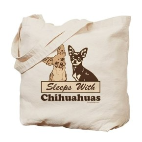 Sleeps With Chihuahuas Tote Bag  Two cute Chihuahua dog illustration graphic image, one light brown / beige, one dark chocolate / black.