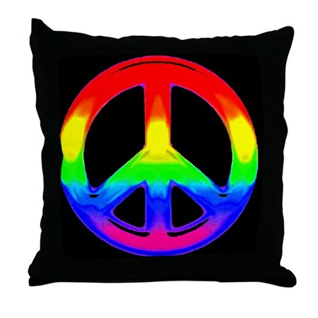 WATERCOLOR RAINBOW PEACE SIGN Throw Pillow by bears_n_leather