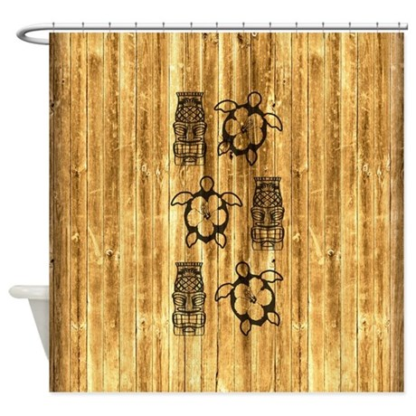 Honu and Tiki Mask Shower Curtain by BailoutIsland