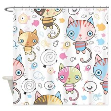 Cute Kittens and Fish Shower Curtain
