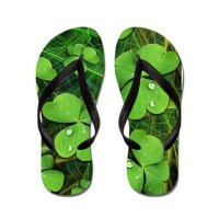 Green Shamrock St Patricks' Day FlipFlops by Bluedarkart - Cafepress