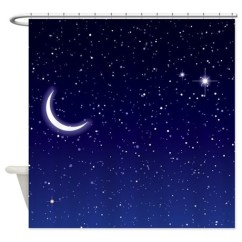 Kitchen Cafe Curtains Acrylic Sinks Night Sky With Moon And Stars Shower Curtain By ...