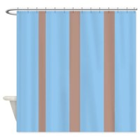 Light blue and brown stripes Shower Curtain by FamilyFunShoppe