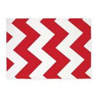 Red And White Chevron! 5X7 Area Rug by iRetro