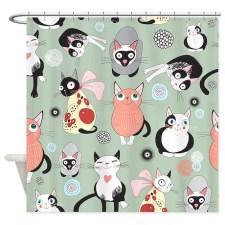 Cute Cat Pattern Shower Curtain