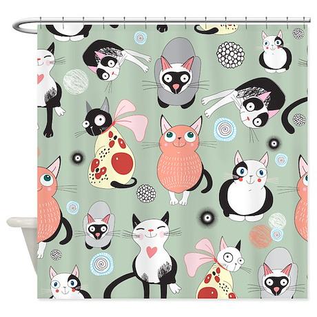 Cute Cat Pattern Shower Curtain ...