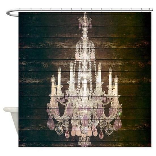 Oak Chandelier Barnwood Rustic Deco Shower Curtain